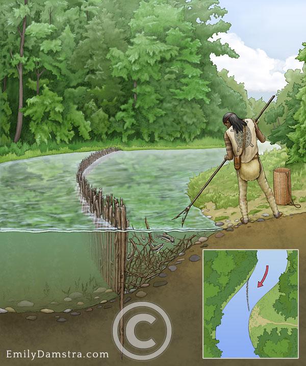 Neutrals inidgenous person fishing illustration