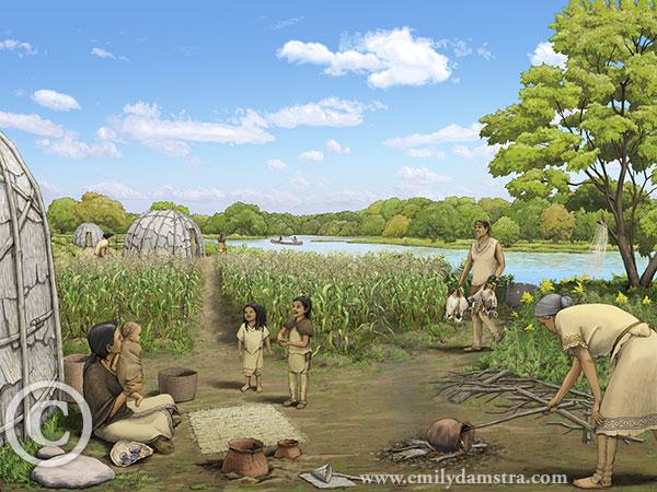 Illustration of Princess Point settlement © Emily S. Damstra