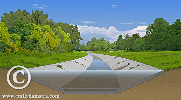 BEFORE stream restoration - illustration © Emily S. Damstra